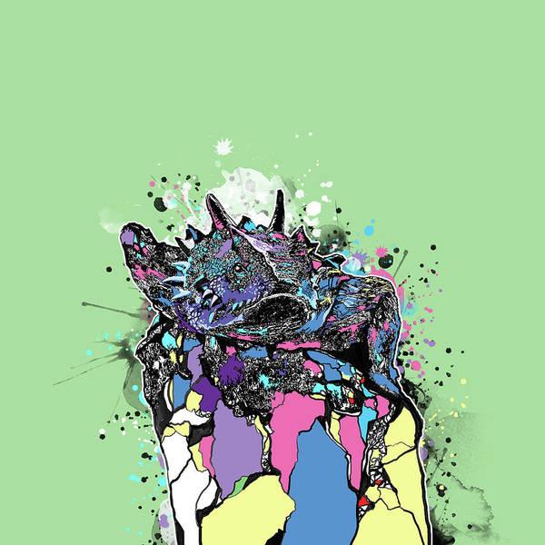 Lizard Digital Art - Tcu Horned Frog Fort Worth Pop Art by Bekim M