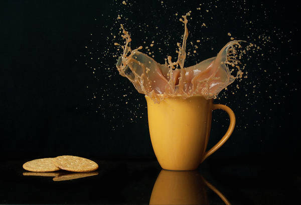 Tea Photograph - Tea And Biscuit Splash by Tom Cooke