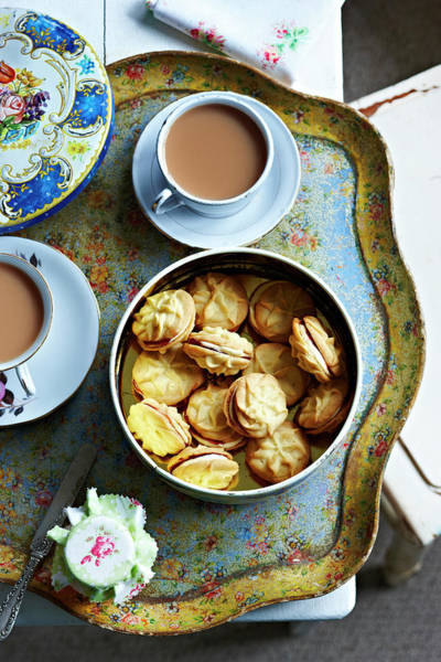 Tea Photograph - Tea And Home Made Biscuits On Tray by Martin Poole