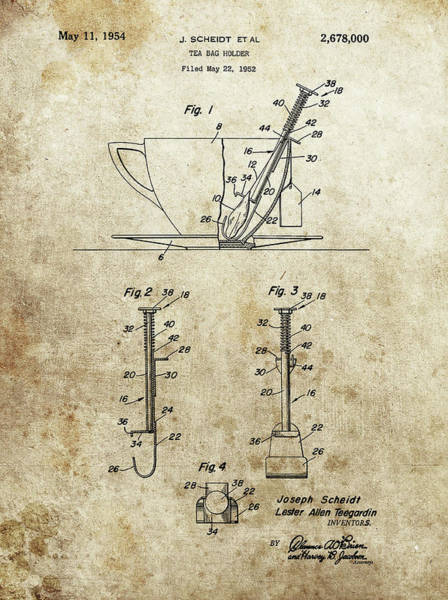 Drawing - Tea Bag Holder Patent by Dan Sproul
