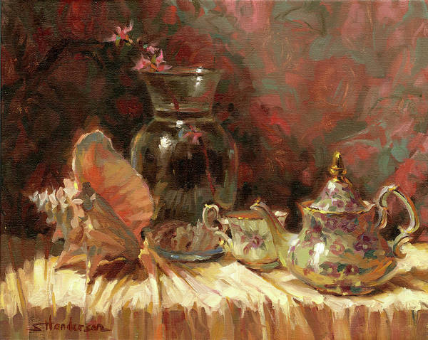 Background Painting - Tea By The Sea by Steve Henderson