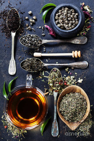 Herbal Wall Art - Photograph - Tea Composition With Different Kind Of by Natalia Klenova