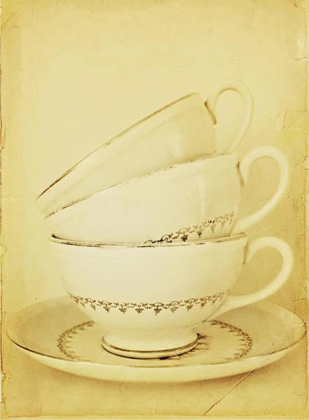 Vertical Garden Photograph - Tea Cups by My Vintage Gardens Photography