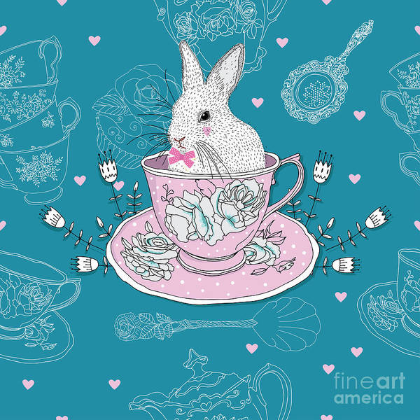 Wall Art - Digital Art - Tea Cups, Teapot, Teaspoons ,rabbit by Hrvojka