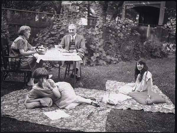 Painting - Tea Party In A Garden 1924 by Celestial Images