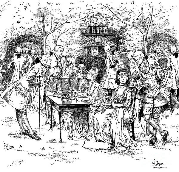 Wall Art - Drawing - Tea Party In Colonial New England by Howard Pyle