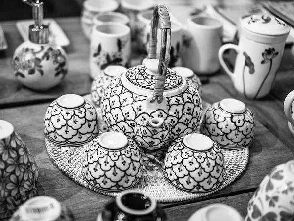 Photograph - Tea Set Hoi An Bw by Gary Gillette