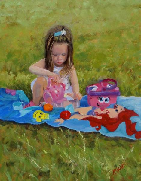 Tea Pot Wall Art - Painting - Tea Time With Ava by Laura Lee Zanghetti