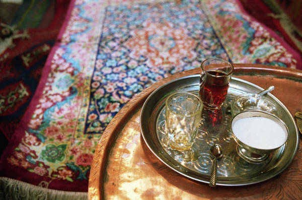 Tray Photograph - Tea Tray With Sugar On Table, Elevated by Annie Marie Musselman