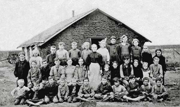 Painting - Teacher And Children In Front Of Sod Schoolhouse. Woods County, Oklahoma Territory, Ca. 1895 by Celestial Images