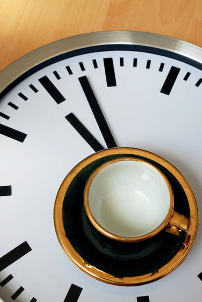 Coffee Photograph - Teacup On A Clock by Eversofine