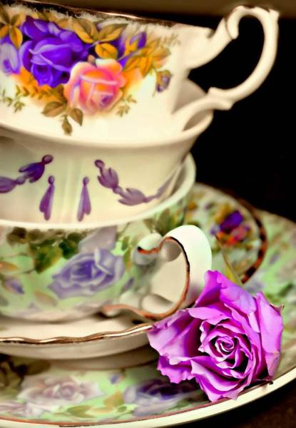 Wall Art - Photograph - Teacups And Roses by Diana Angstadt