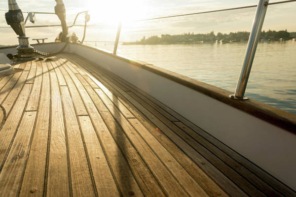 Sailboat Photograph - Teak Deck Of 62 Ft Sailboat by Gary S Chapman