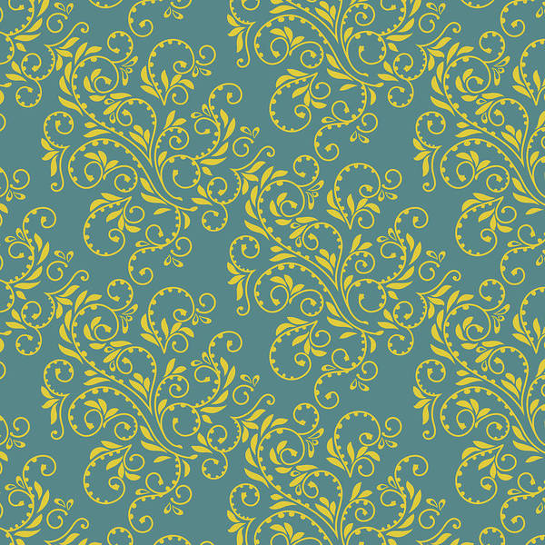 Digital Art - Teal And Gold Fern Pattern by Garden Gate magazine