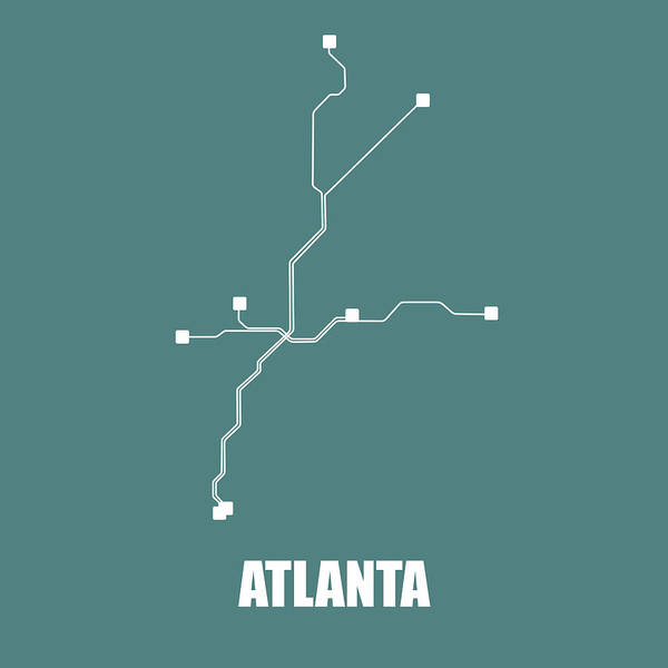 Wall Art - Digital Art - Teal Atlanta Subway Map by Naxart Studio