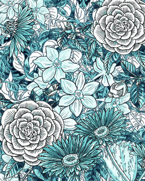 Wall Art - Painting - Teal Blue Watercolor Botanical Flowers Garden Pattern Flowerbed I by Irina Sztukowski