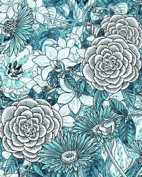 Painting - Teal Blue Watercolor Botanical Flowers Garden Pattern Flowerbed II by Irina Sztukowski