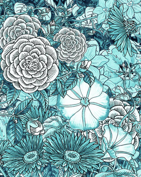 Wall Art - Painting - Teal Blue Watercolor Botanical Flowers Garden Pattern Flowerbed IIi by Irina Sztukowski
