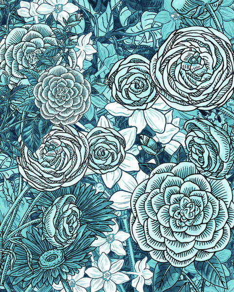 Wall Art - Painting - Teal Blue Watercolor Botanical Flowers Garden Pattern Flowerbed Iv by Irina Sztukowski