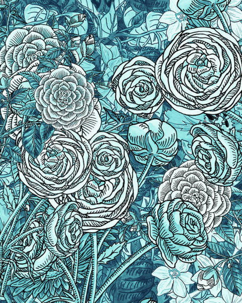 Wall Art - Painting - Teal Blue Watercolor Botanical Flowers Garden Pattern Flowerbed V by Irina Sztukowski