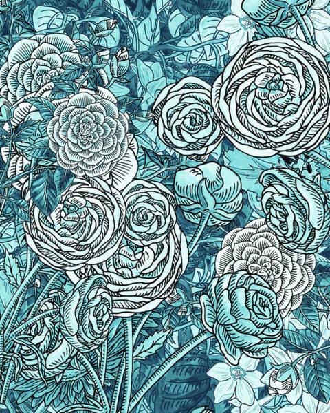 Painting - Teal Blue Watercolor Botanical Flowers Garden Pattern Flowerbed V by Irina Sztukowski