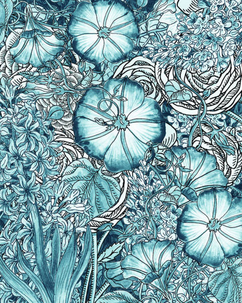 Wall Art - Painting - Teal Blue Watercolor Botanical Flowers Garden Pattern Flowerbed Vi by Irina Sztukowski