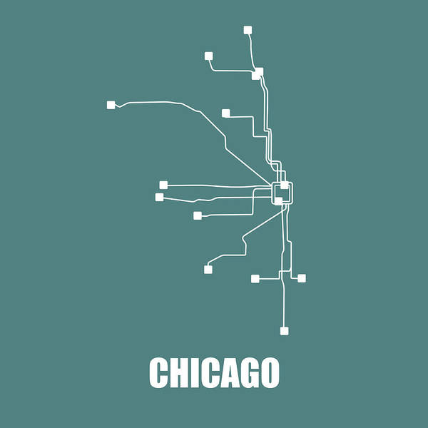 Wall Art - Digital Art - Teal Chicago Subway Map by Naxart Studio