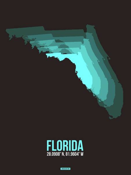 Wall Art - Digital Art - Teal Map Of Florida by Naxart Studio