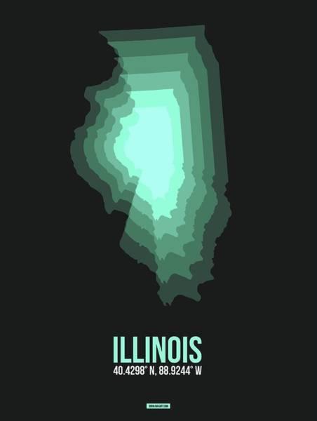 Wall Art - Digital Art - Teal Map Of Illinois by Naxart Studio