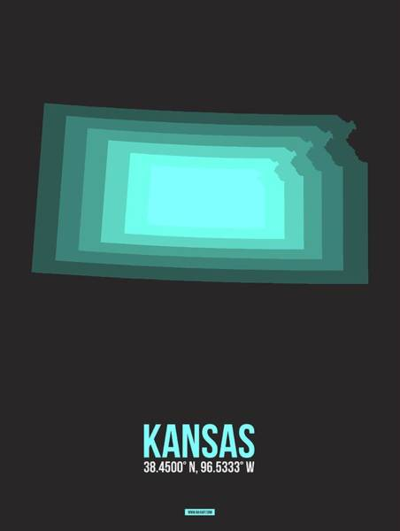 Wall Art - Digital Art - Teal Map Of Kansas by Naxart Studio