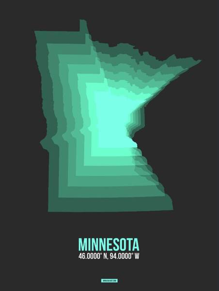Wall Art - Digital Art - Teal Map Of Minnesota by Naxart Studio
