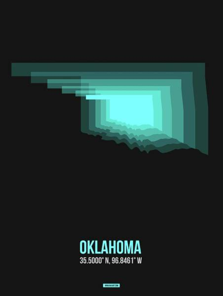 Wall Art - Digital Art - Teal Map Of Oklahoma  by Naxart Studio