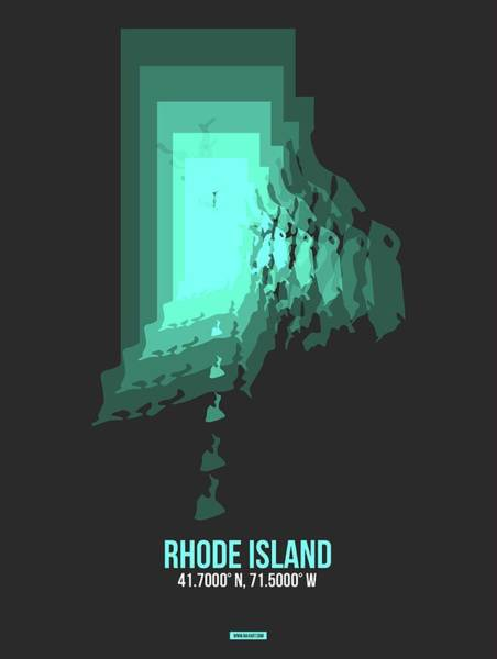 Wall Art - Digital Art - Teal Map Of Rhode Island by Naxart Studio