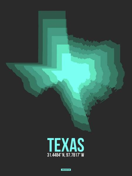 Wall Art - Digital Art - Teal Map Of Texas by Naxart Studio