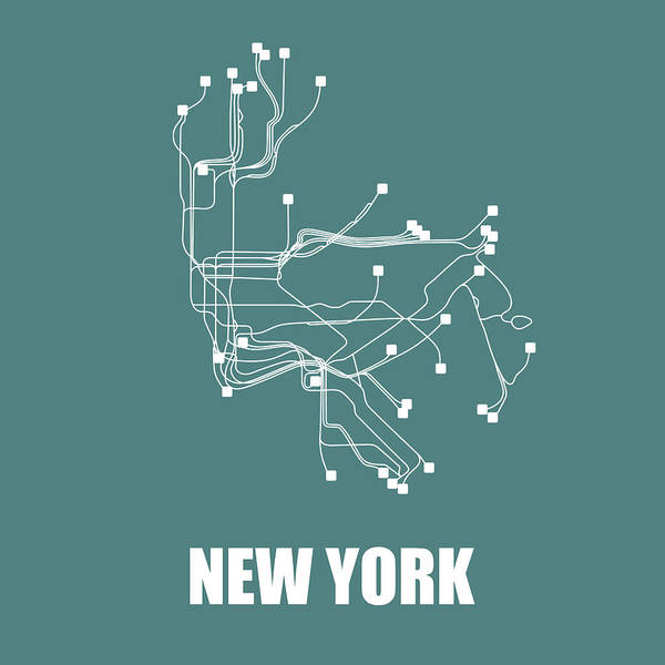 Wall Art - Digital Art - Teal New York Subway Map  by Naxart Studio