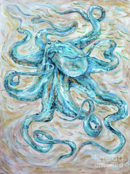 Painting - Teal Octopus by Linda Olsen