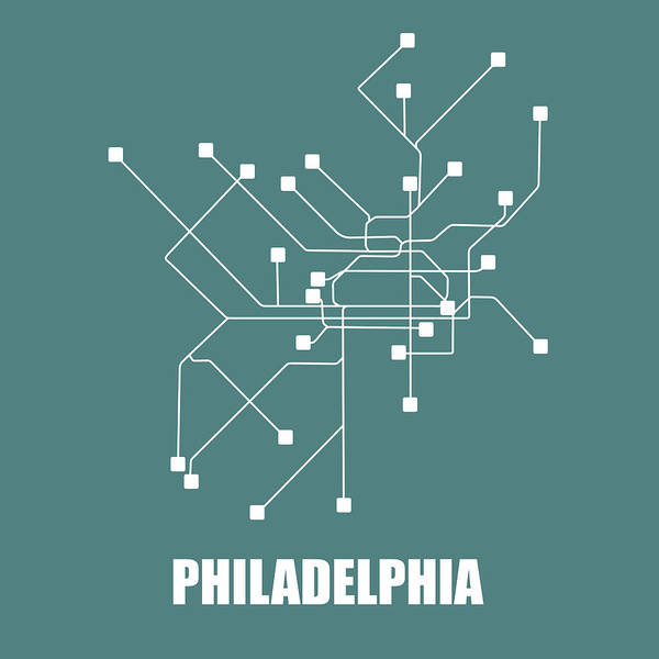Wall Art - Digital Art - Teal Philadelphia Subway Map by Naxart Studio