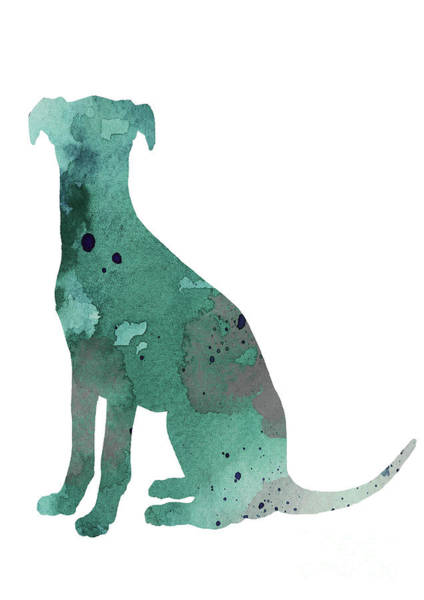 Wall Art - Painting - Teal Silhouette Of A Whippet Sitting Facing Left by Joanna Szmerdt