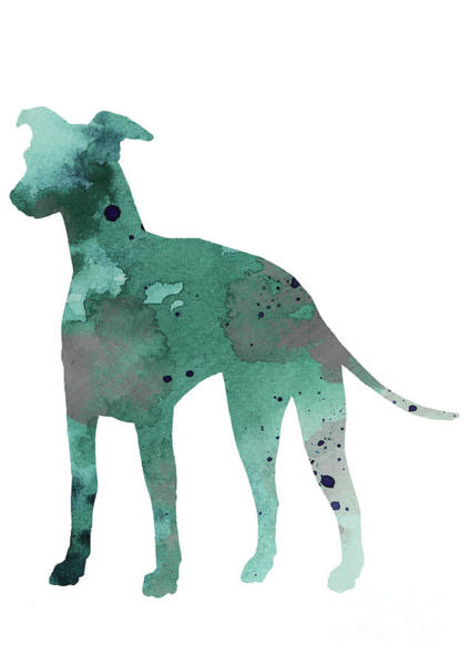 Wall Art - Painting - Teal Silhouette Of A Whippet Standing Facing Left by Joanna Szmerdt
