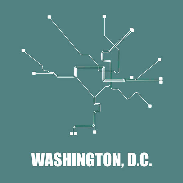 Wall Art - Digital Art - Teal Washington, D.c. Subway Map by Naxart Studio