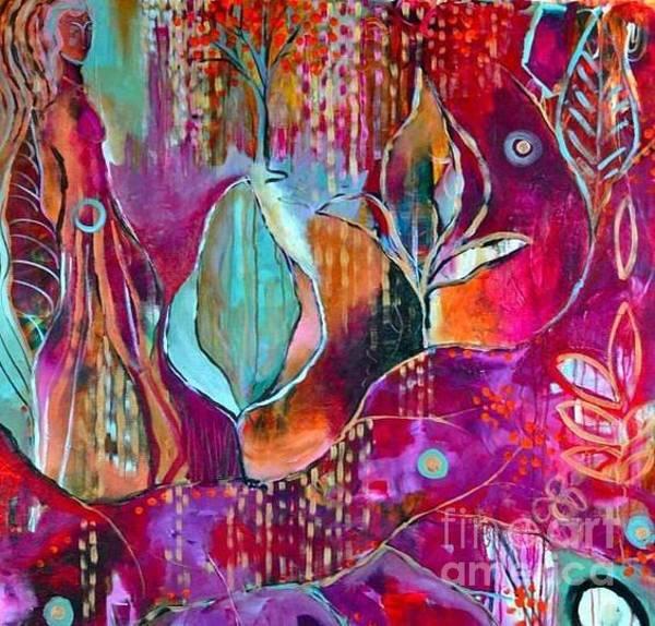 Painting - Teal_pink_bee2018 by Kasey Jones
