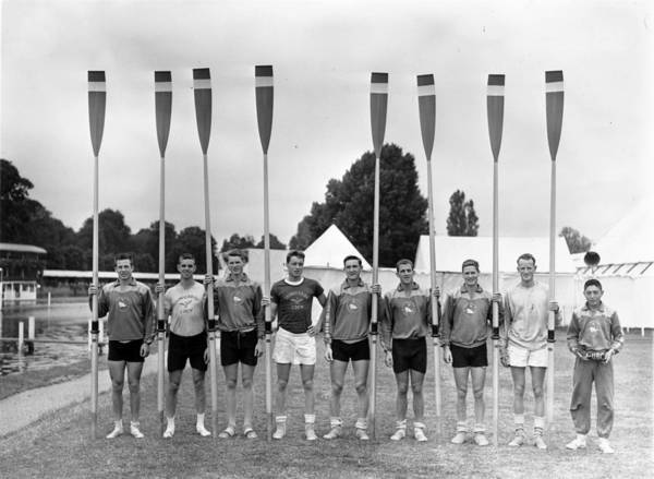 Rowing Photograph - Team With Oars by J A Hampton