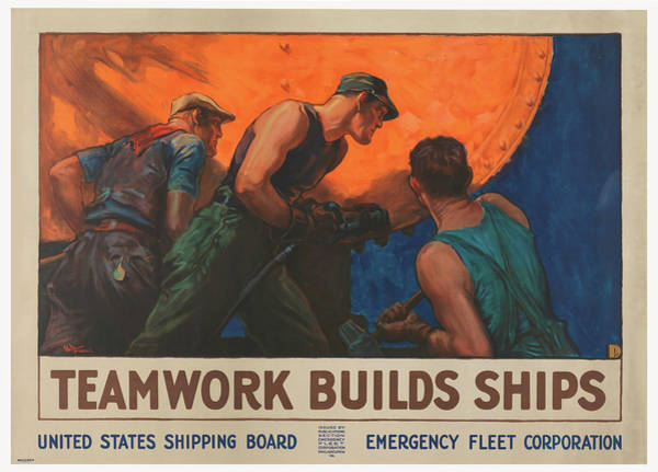 Wall Art - Mixed Media - Teamwork Builds Ships 1918 by Library Of Congress