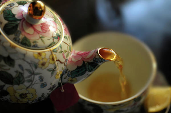 Teapot Photograph - Teapot With Tea by By Janice Darby