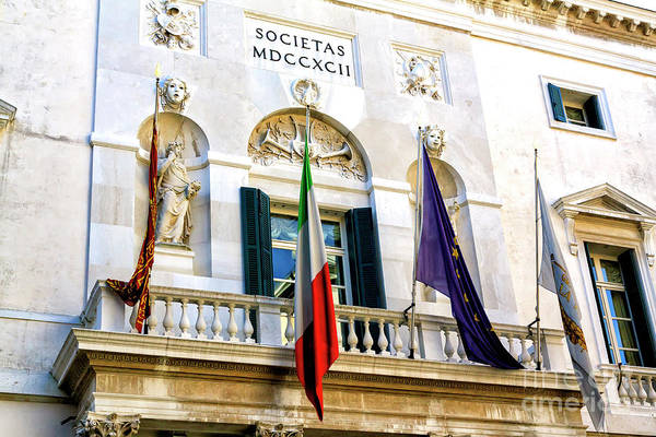 Photograph - Teatro La Fenice Facade In Venice by John Rizzuto
