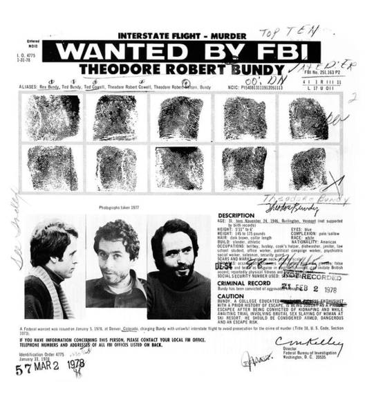 Ted Bundy - Wanted By The Fbi Art Print