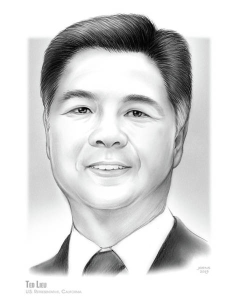 Wall Art - Drawing - Ted Lieu by Greg Joens