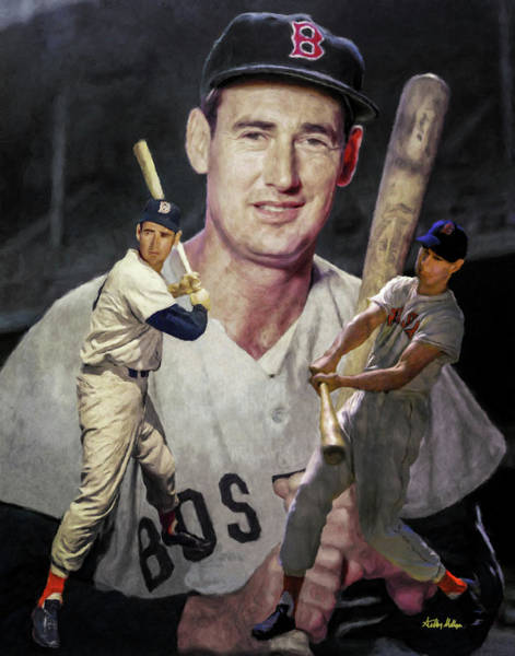 Hitter Painting - Ted Williams Boston Red Sox Mlb Baseball Stadium   Art Collage by Arthur Milligan