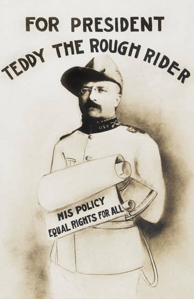 Equal Rights Wall Art - Painting - Teddy The Rough Rider - For President - 1904 by War Is Hell Store