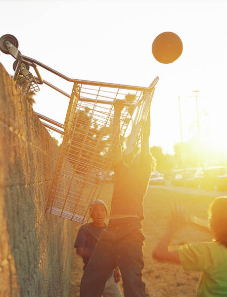 Resourceful Photograph - Teenage Boys 13-15 Playing Basketball by Sean Murphy
